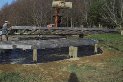Yurt piles and sub floor frame